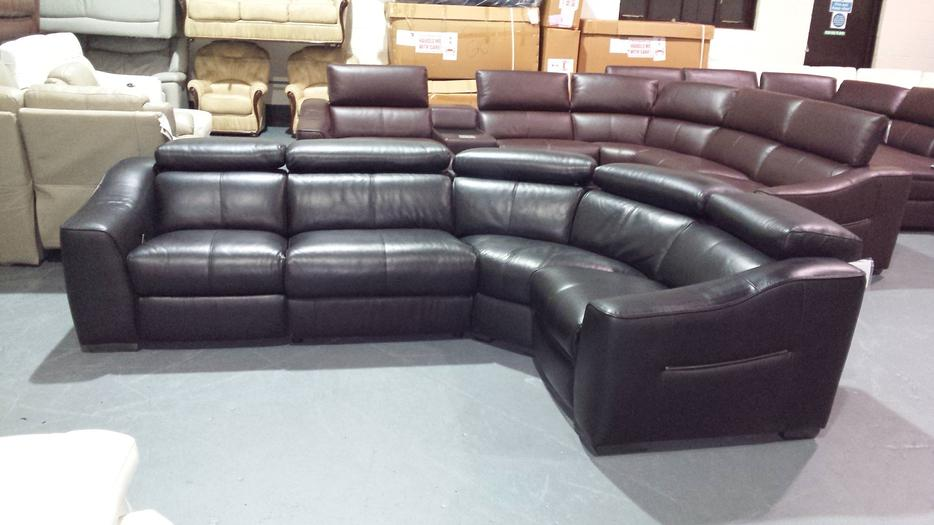 Ex Display Elixir Black Leather Manual Recliner Corner
