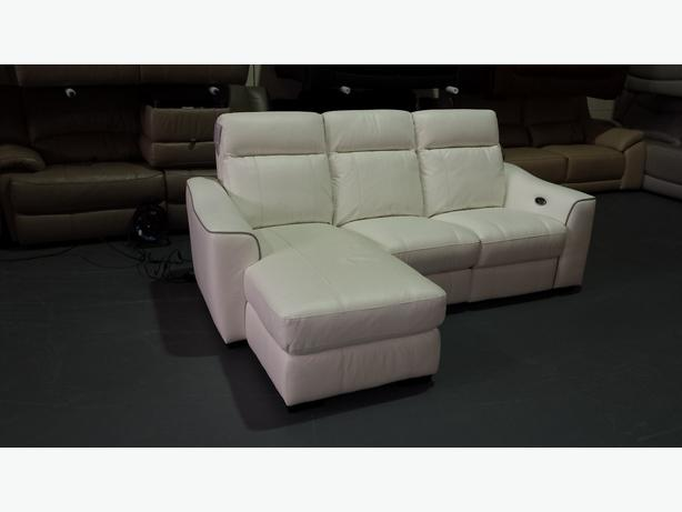 New paloma star white leather electric recliner corner for Paloma leather sofa