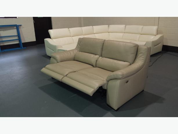 Polo Divani Italian Degano beige leather electric recliner ...