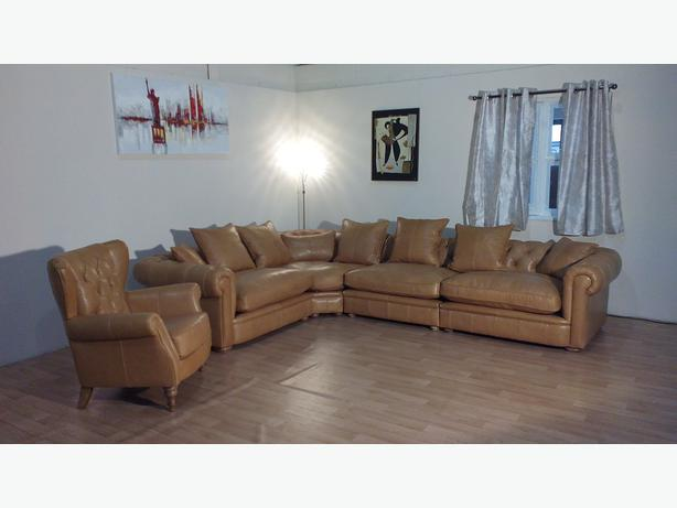 Ex display Abraham chesterfield tan leather corner sofa and wing armchair Outside Leeds area, Leeds