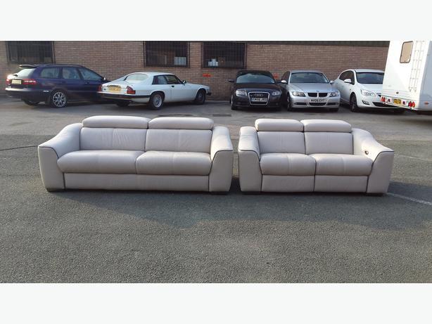 Elixir Light Grey Leather Standart 3 Seater Sofa+electric Recliner 2 Seater  Sofa