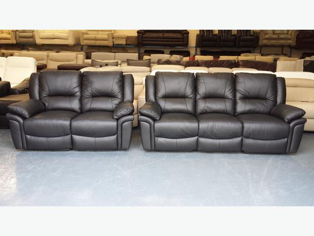 New Diablo Black Leather Manual Recliner 3 2 Seater Sofas