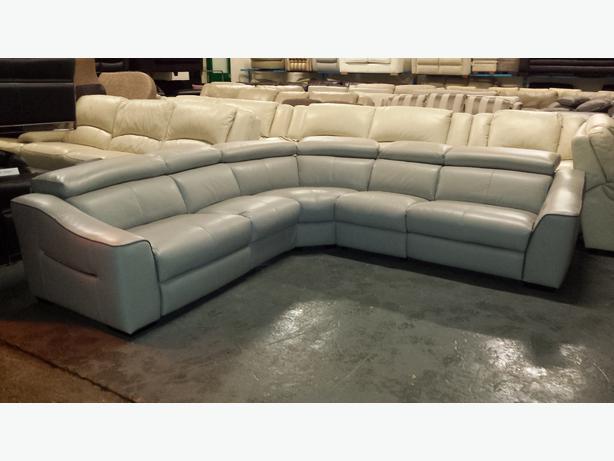 New Elixir Grey Leather Electric Recliner Corner Sofa