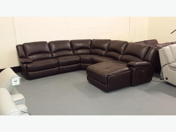 Ex Display Ronson Brown Leather Electric Recliner Corner Sofa With Chaise  Lounge
