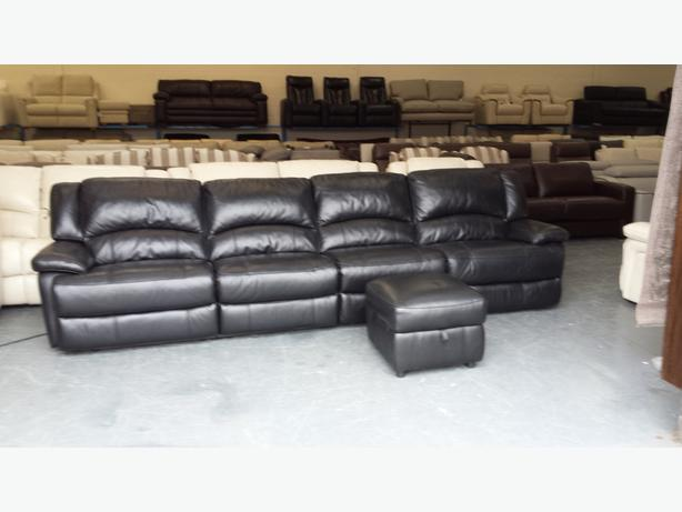 Ronson Black Leather Large Electric Recliner Sofa And Storage Footstool