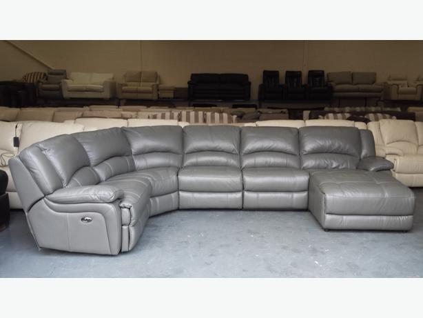 Ronson Dark Grey Leather Electric Recliner Corner Sofa With Chaise Lounge