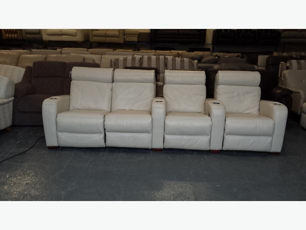 Attractive Ex Display Frontrow Cream Leather 4 Seater Electric Recliner Cinema