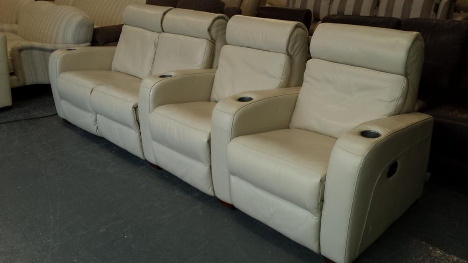 Ex Display Frontrow Cream Leather 4 Seater Electric