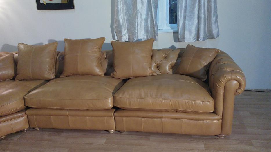 Ex Display Abraham Chesterfield Tan Leather Corner Sofa