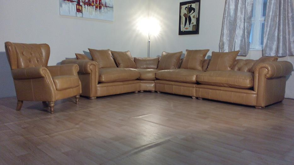 Ex display Abraham chesterfield tan leather corner sofa and wing armchair Outside Kirklees area