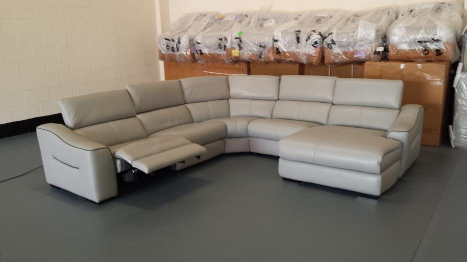 Elixir Grey Leather Electric Recliner Corner Sofa With