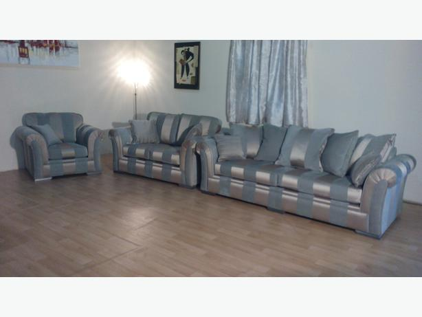Ex Display Downton Gold Striped Designer Fabric 3 2 Seater Sofas And  Armchair