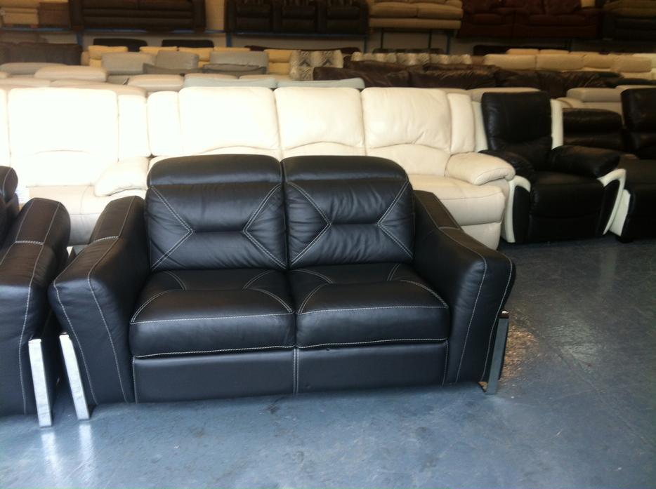 Sisi Italia San Remo Black Leather Static 3 2 Seater Sofas