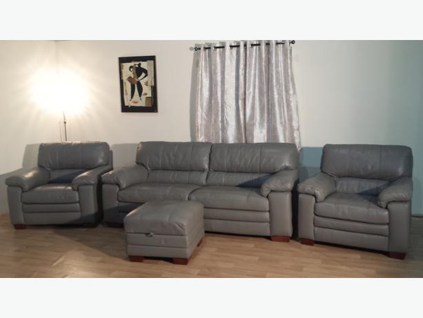 Merveilleux Ex Display Carolina Grey Leather 3 Seater Sofa,2 Armchairs And Storage  Footstool