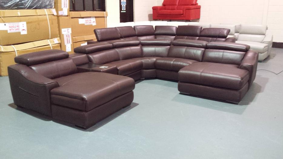 Elixir Brown Leather Electric Chaise Corner Sofa With Ipod