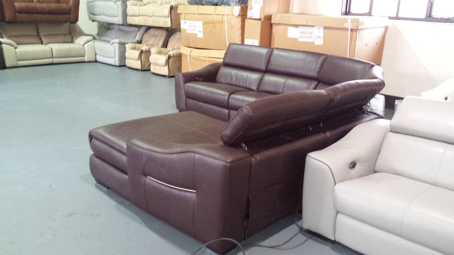 Ex Display Elixir Ivory Leather Electric Recliner Corner