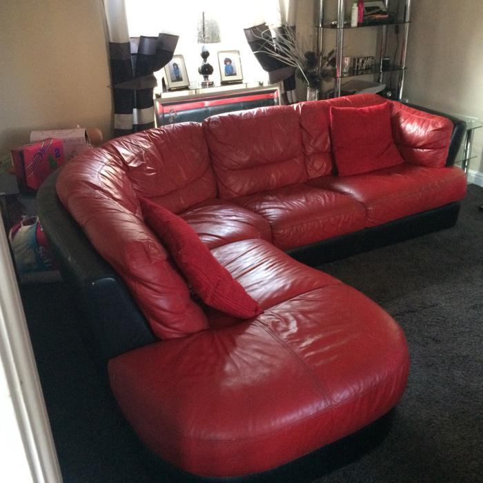 Dfs Red Leather Swivel Chair: Dfs Corner Leather And Recliner Chair Electric Bilston
