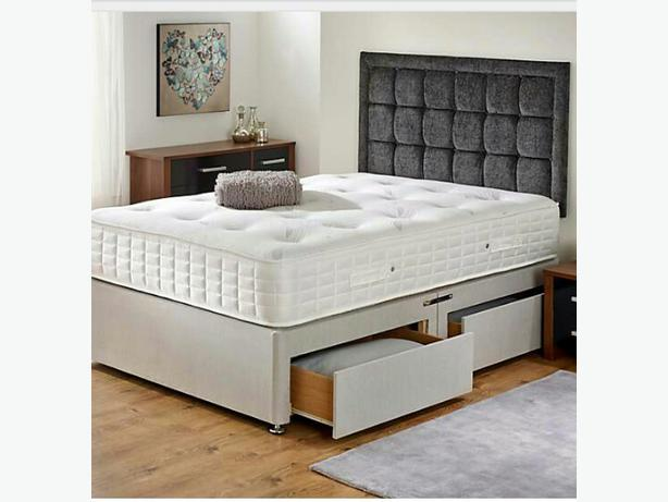 Double 1000 pocket memory foam divan bed with 2 drawers for Double divan with drawers