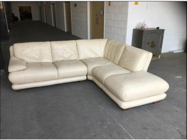 1500 Luxury Thick Cream Leather Corner Sofa We Deliver Uk Outside