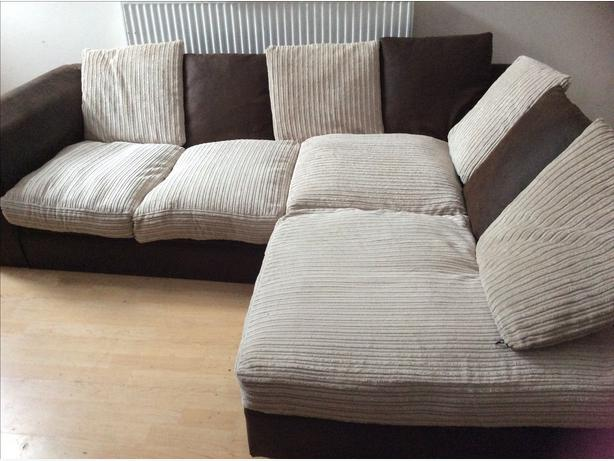 Brown suede and cream fabric corner sofa willenhall dudley for Suede couches for sale