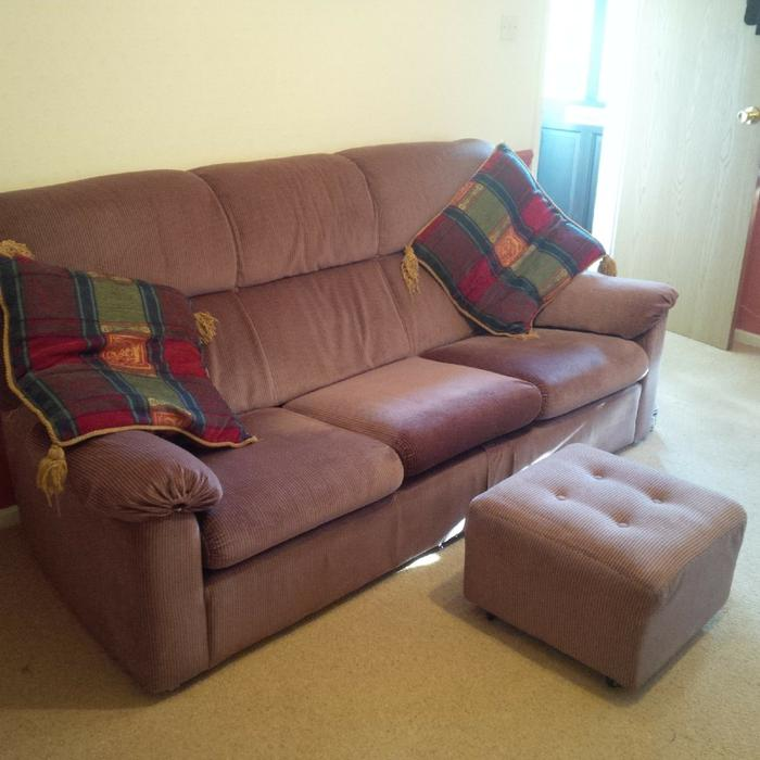 Sofa For Sale In Wolverhampton: 3 Seater Sofa + Pouffe Bilston, Wolverhampton