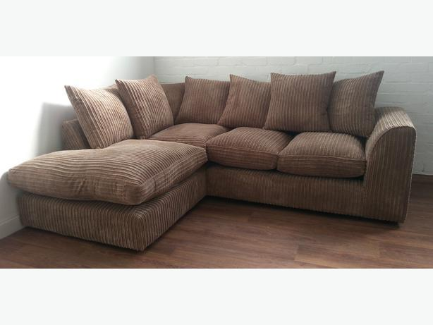new erika corner sofa suite in brown jumbo cord fabric outside black country region dudley. Black Bedroom Furniture Sets. Home Design Ideas