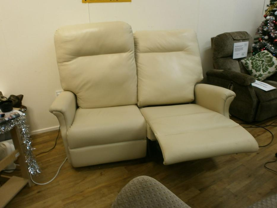 Cream Real Leather Riser Recliner Two Seater Sofa Special Offer Price Dudley Dudley