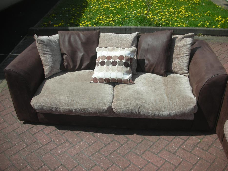 3 2brown suede leather sofa for sale dudley dudley for Suede couches for sale