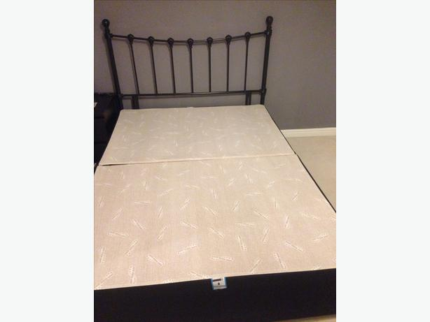 double divan bed frame in black with black metal head