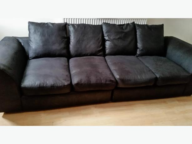 4 seater black wet look fabric sofa willenhall dudley. Black Bedroom Furniture Sets. Home Design Ideas