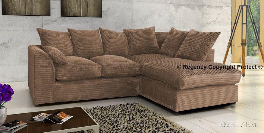 New Cara Corner Sofa Suite In Latte Brown Jumbo Cord Soft