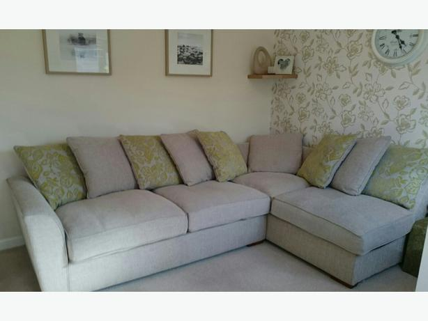 Furniture village cream and green left hand facing corner for Furniture village sofa