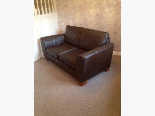 Marks And Spencer Dark Brown Leather Sofa And Chair