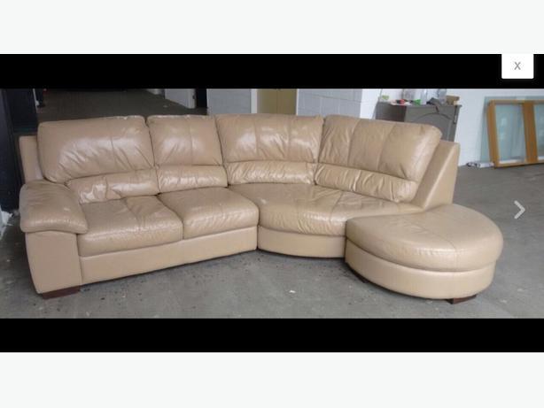 We Deliver Uk Wide Leather Corner Sofa With Half Moon