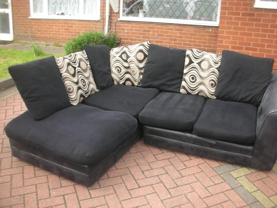 Black suede corner sofa for sale dudley dudley for Suede couches for sale