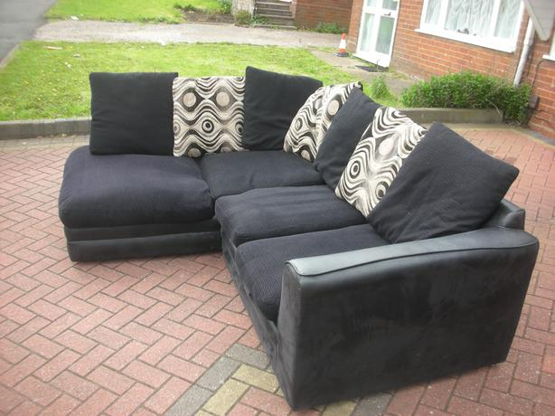 Black suede corner sofa for sale dudley wolverhampton for Suede couches for sale