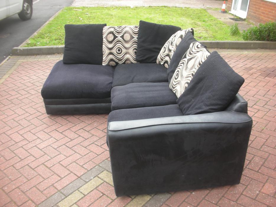 Black suede corner sofa for sale dudley sandwell for Black suede sofa