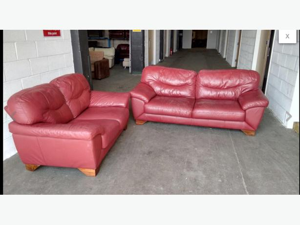 ... In needed £169 · Thick Heavy Red Leather Sofa Set WE DELIVER UK WIDE
