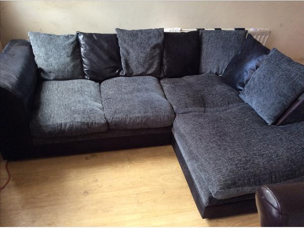 black suede and green fabric corner sofa willenhall