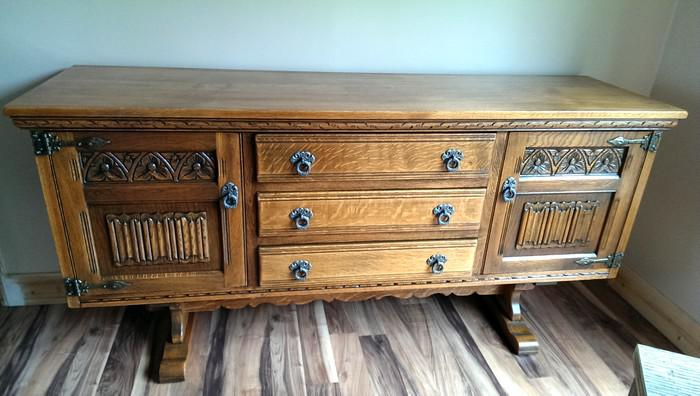 Price reduced old charm solid oak sideboard dudley for Sideboard petrol