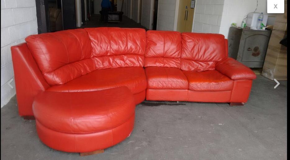 163 1200 Red Leather Half Moon Corner Sofa We Deliver Uk Wide