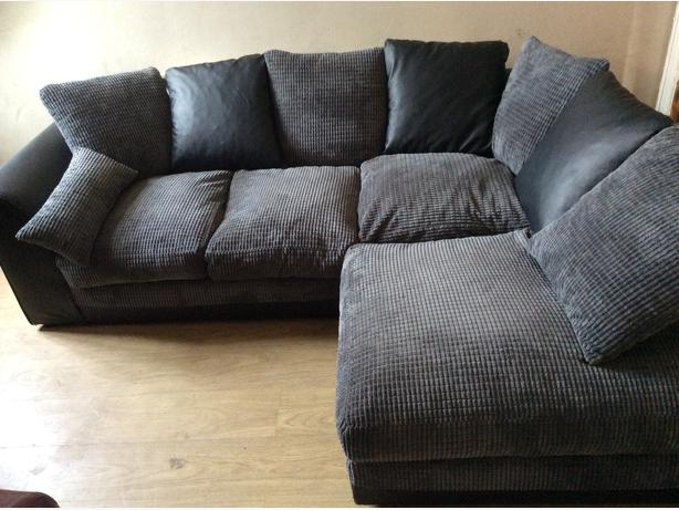 Dylan Range Black Faux Leather And Grey Fabric Corner Sofa