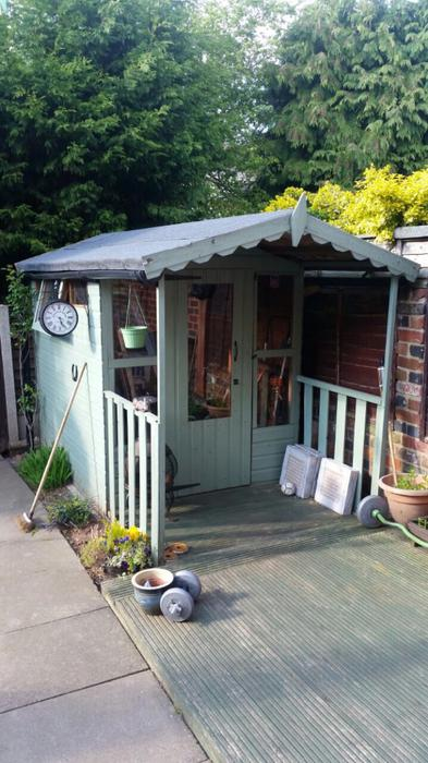 Bargain price garden summer house shed with porch for Sheds with porches for sale