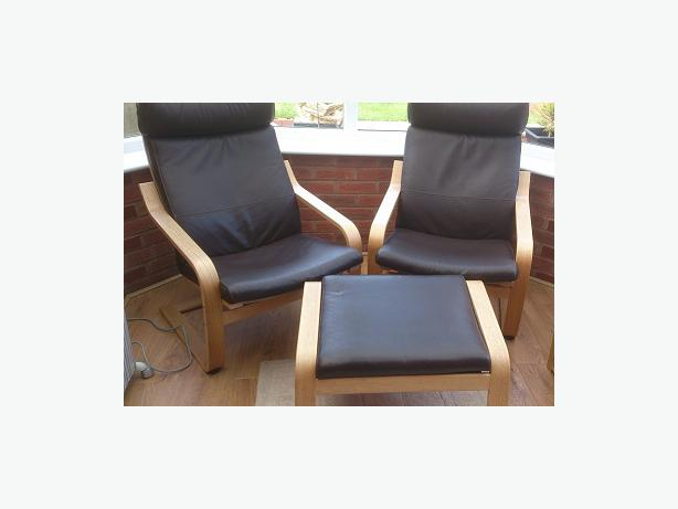ikea poang a pair of brown leather oak framed armchairs and footstool