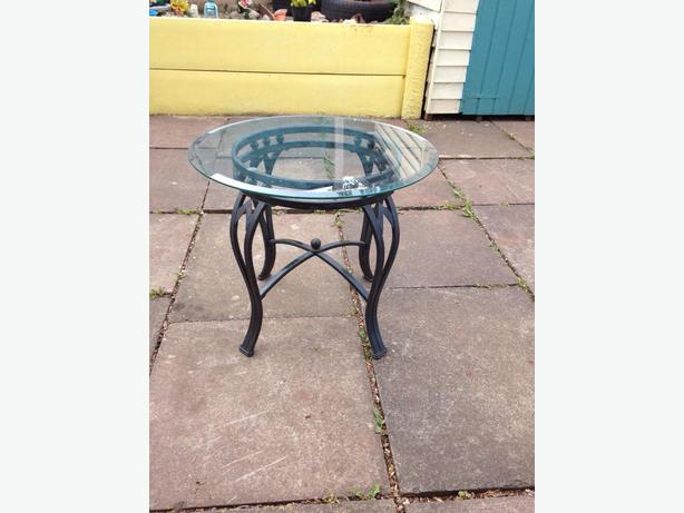 Cast iron glass side table wolverhampton dudley for Wrought iron and glass side tables