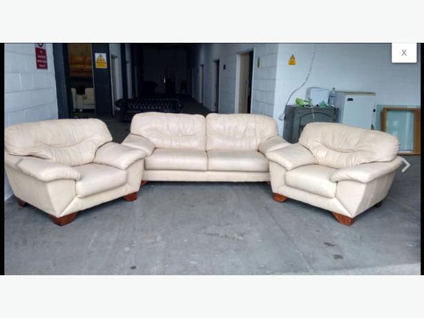 £1200 Thick Heavy Cream Leather Sofa Set WE DELIVER UK Smethwick ...
