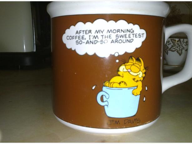 gafield mug + desprate dan mug + cadbury dairy milk mug