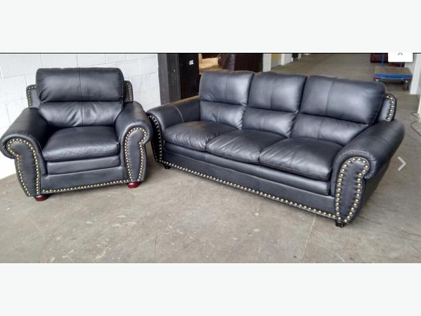 1200 luxury studded black leather sofa set we deliver uk for Studded leather sofa