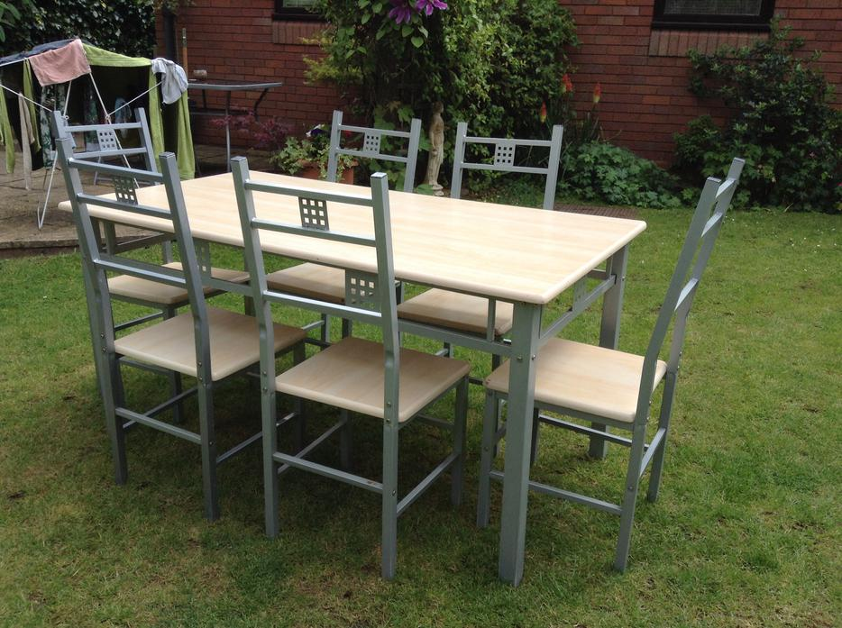 Kitchen dining table set 6 seater wooden top metal legs  : 104393521934 from usedsandwell.co.uk size 934 x 697 jpeg 123kB
