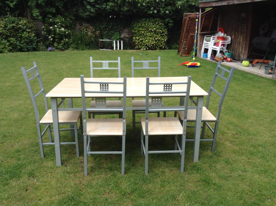 Kitchen dining table set 6 seater wooden top metal legs ikea style other dudley - Seater dining table ikea ...